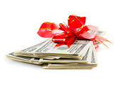 Stack of Cash With Red Bow — Stok fotoğraf