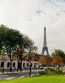Eiffel tower view from the street of Paris  — Stock Photo
