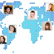 Photo of people at world map. — Stock Photo #48730457