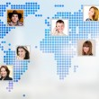 Photo of people at world map. — Stock Photo #48730477