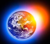 A beautiful space scene with planet and sun  — Stock Photo