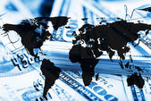 Finance background with dollars and world map.  — Stock Photo