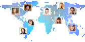Photo of people at world map. — Stock Photo