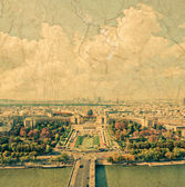 Aerial panoramic view of Paris and Seine river — Stok fotoğraf