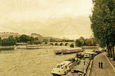 River seine in paris on a cloudy day  — 图库照片