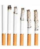 Set of Cigarettes During Different Stages of Burn.  — Stock Photo