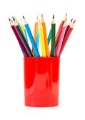 Colored pencils in a jar  — Stock Photo