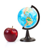 Red apple and globe — Stock Photo