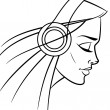 Stock Vector: Girl with headphones