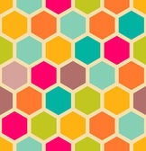 Retro geometric hexagon seamless pattern — Stock Vector