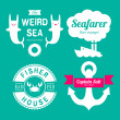 Sea theme labels — Stock Vector