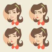 Retro girl Emotions icons — Stock Vector