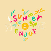 Summer typographic illustration with hand-drawn letters — Stock Vector