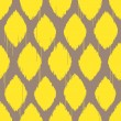 Stock Vector: Ikat yellow rhomb seamless pattern