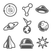 Space astronomical icons — Stock Vector