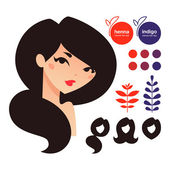 Natural hair dyes henna and indigo icons — Stock Vector