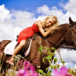 Beauty on horse - Stock Photo
