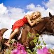 Beauty on horse — Stock Photo