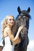 Beauty with horse — 图库照片