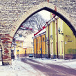 Street of Old Tallinn in winter day, Estonia — Stock Photo
