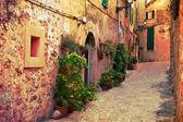 Ancient street in Valldemossa village, Mallorca — Stock Photo