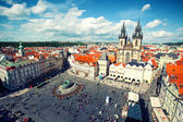 View to Old Town Square and Tyn church in Prague — Stock Photo