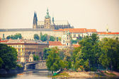 View to Prague castle and Vltava river — Foto Stock