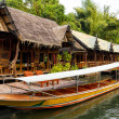 Stock Photo: Tropical beach houses on River Kwai in Thailand