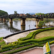 The death railway bridge over river Kwai in Kanchanaburi Thailand — Stock Photo