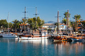 Moored yachts, Side, Turkey — Stock Photo