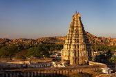 Virupaksha Temple at sunset, Hampi, Karnataka, India — Stock Photo