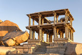 Ruins of ancient temple at sunset, Hampi, Karnataka, India — Stock Photo