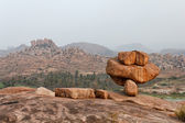 Foggy landscape at dawn in Hampi, Karnataka, India — Stock Photo