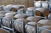 Wine aging in barrels — Stock Photo
