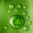 Water drops on leaf and recycle logo - Photo