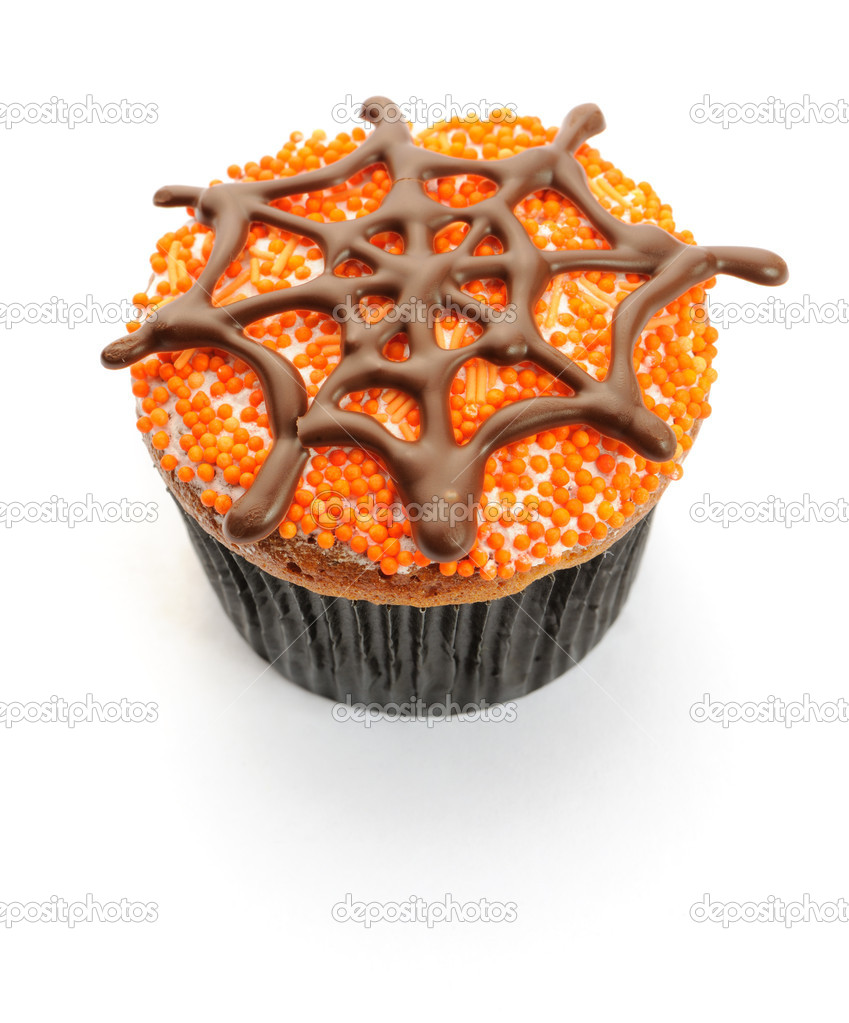 Halloween cupcake with decoration isolated on white — Stockfoto #12852839