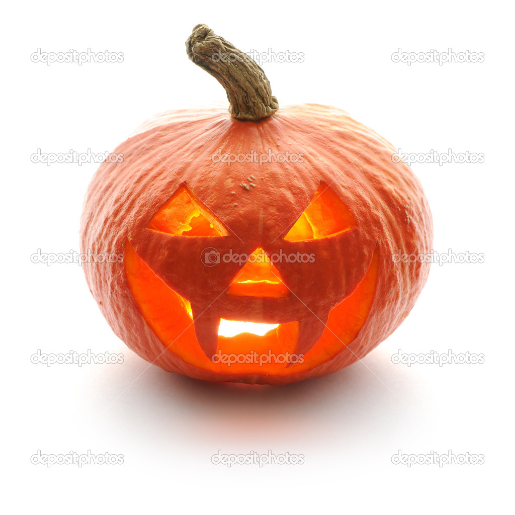 Halloween pumpkin Jack O'Lantern isolated on white  Stock Photo #13259049
