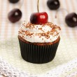 Cupcakes with whipped cream and cherry — 图库照片
