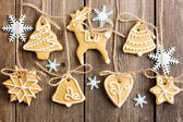 Christmas homemade gingerbread cookies — Stok fotoğraf
