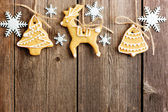 Christmas homemade gingerbread cookies — Стоковое фото