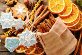 Christmas homemade gingerbread cookie and spices — Stock Photo