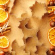 Christmas spices and cookie cutters over gingerbread dough — Stock Photo