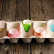 Colored easter eggs candles — Stock Photo