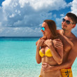 Couple on a beach at Maldives — Stock Photo #21611247