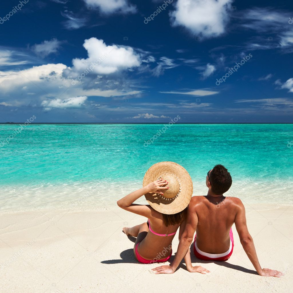 Couple At The Beach Stock Image Image Of Caucasian: Couple On A Beach At Maldives