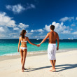 Couple on a beach at Maldives — Stockfoto