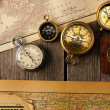 Antique compasses over old map — Foto Stock