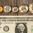 US money over wooden background — Stock Photo #24501137