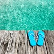 Foto Stock: Slippers at jetty