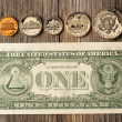 US money over wooden background — Stock Photo #25231261